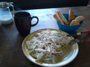 Chilaquiles, Bread and Coffee